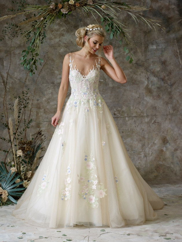 White wedding dress with floral details