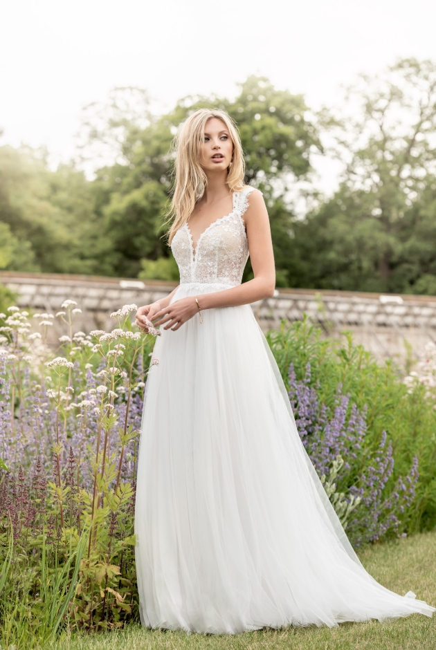 Kelsey Rose wedding dress with chiffon skirt and flower detailed bodice