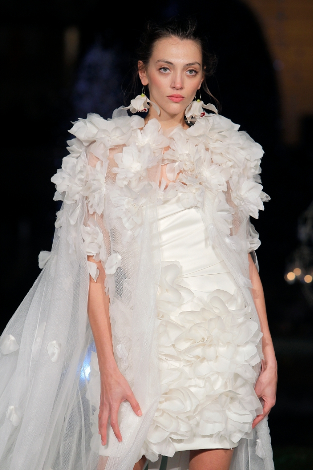 Marchesa Gwen wedding dress with floral details cape