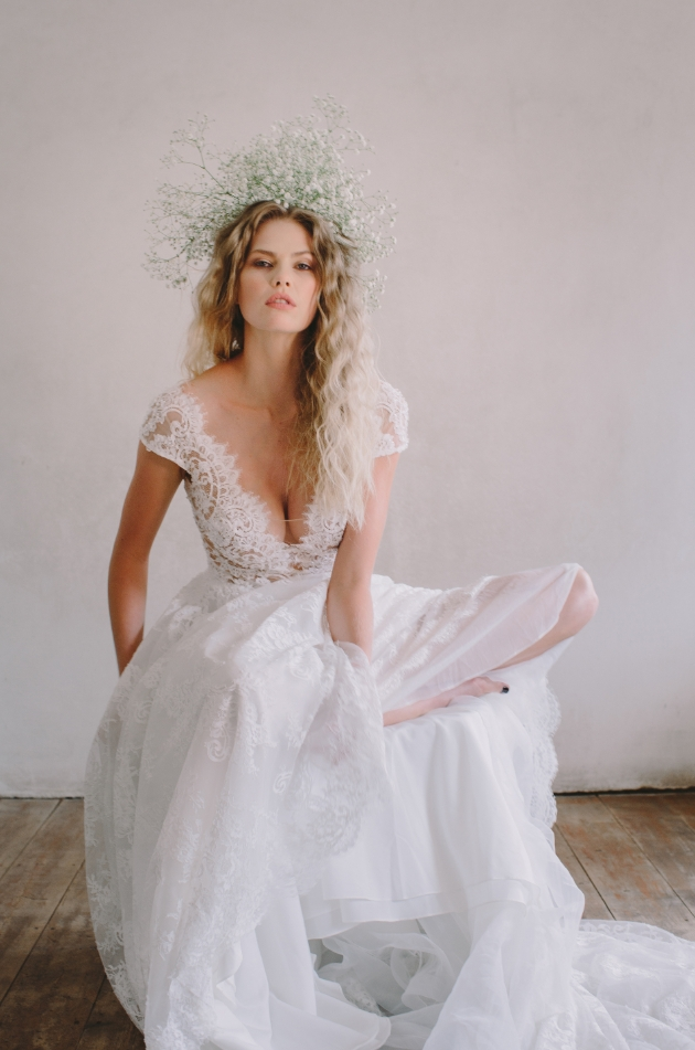 Model wear floral headcrown with lace bodice and tulle skirt