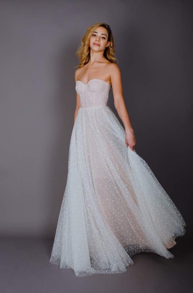 Model wears strapless coloured gown with netted printed overlay