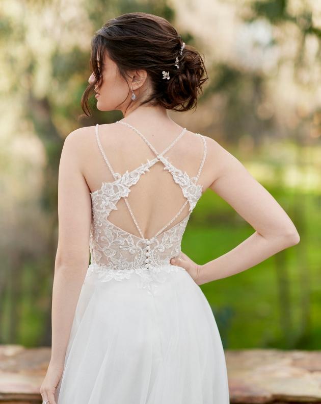 back shot of model wearing wedding dress with multiple back straps