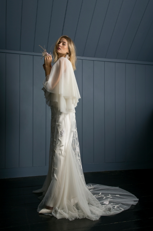Model is wearing Tulip dress and Iris slip from Halfpenny London