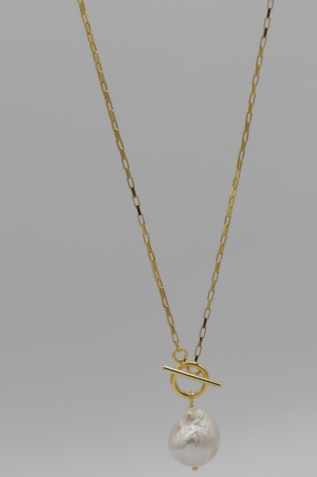 A 14-carat gold plated necklace with a freshwater pearl from Six Stories in Wiltshire