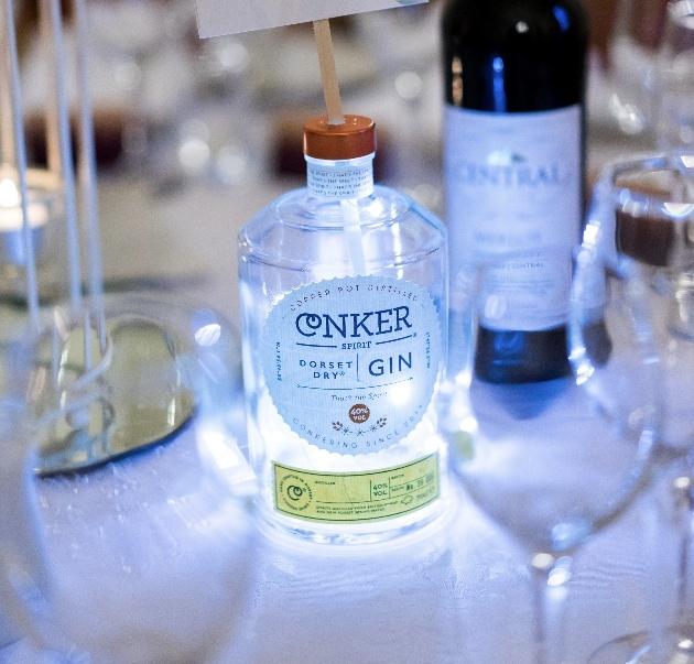 Gin bottle centrepieces